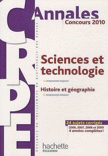 CRPE Sciences et la technologie 2010 : Histoire et géographie