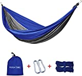 Portable Travel 2 Person Camping Parachute Nylon Fabric Hammock Swing Ultra Lightweight Max.load of 660lbs with free tree straps