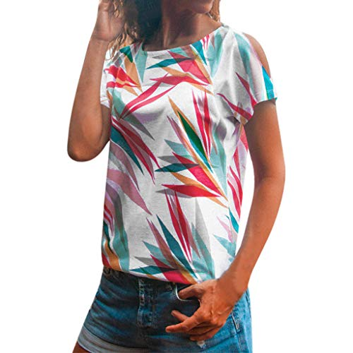LILICAT Tops Bluse Frauen Mode Casual O-Neck Kurzarm Kalte Schulter Aushöhlen Leaf Print Top Tee Shirt Bluse Kurzarm und Shorts Rückenfrei Zweiteilige Nachthemd Schlafanzüge Negligee Wäsche Set -
