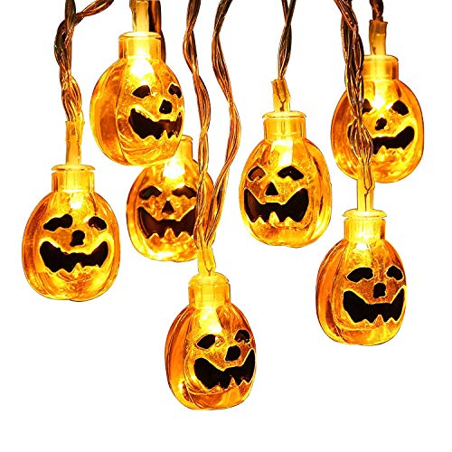 B&t halloween string lights, solar light string, 20ft 30leds 3d pumpkin lights, 8 modalità a batteria outdoor halloween lights, warm white