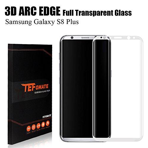 "Protector de Pantalla Samsung Galaxy S8 Plus, TEFOMATE Vidrio Templado Protector de Pantalla Completa Tempered Glass Screen Protector para Galaxy S8 Plus 6.2"" [Curvado 3D] - Plata"