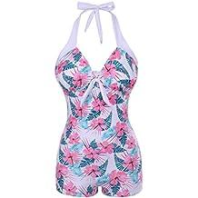 323adfb53a40 FeelinGirl Badeanzug Damen Neckholder Push up Tankini mit Hotpants Bikini  Schlankheits mit Röschen Bademode