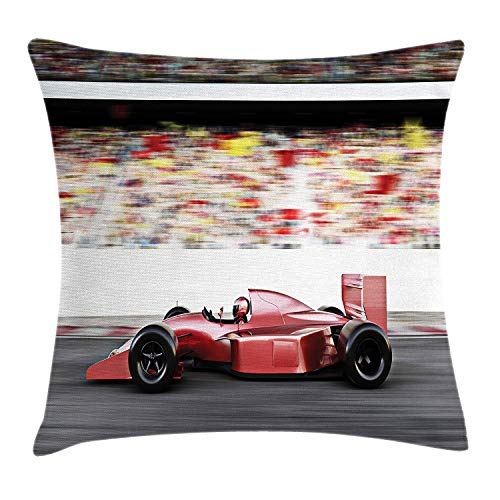 Eye Gel Twin Pack (KLYDH Cars Throw Pillow Cushion Cover, Motor Sports Red Race Car Side View on a Track Leading The Pack with Motion Blur, Decorative Square Accent Pillow Case, 18 X 18 inches, Gray Red Black)
