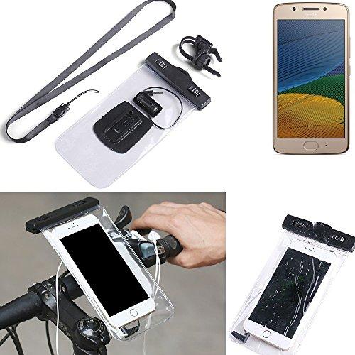 K-S-Trade Fahrrad Halterung für Lenovo Moto G5 Single-SIM Handy Halter Lenkstange Fahrradhalter Fahrradhalterung regensicher wasserdicht Anschluss für Kopföhrer transparent