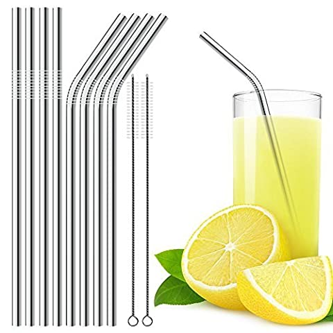 Stainless Steel Drinking Straws Set of 8 with 2 Cleaning Brushes, DLAND 10.5 inch Drinking Straw (4 Straight and 4 Bend) for 30 oz Tumbler and 20 0z Tumbler, Fit for Yeti