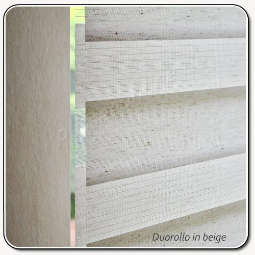 plisseeonline Duo - Estor Doble Enrollable Beige 90 cm x 250 cm