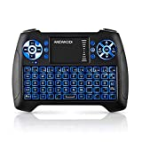Mini Tastatur Touchpad, Smart TV Tastatur Fernbedienung, Wireless Backlit QWERTY Tastatur Layout, Plug and Play, Mini Tastatur Beleuchtet für Smart-TV, HTPC, IPTV, Android TV-Box, XBOX360, PS3, PC