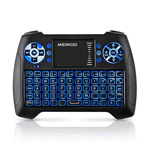 ANEWKODI Mini Tastatur mit touchpad, Smart TV Tastatur Fernbedienung, QWERTZ Tastatur Layout, Plug and Play, Mini Tastatur Beleuchtet für Smart-TV, HTPC, IPTV, Android TV-Box, XBOX360, PS3, PC