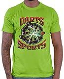 HARIZ  Herren T-Shirt Darts Sports Blitz Scheibe Dart Sprüche Männer Sport Fun Trikot Plus Geschenkkarten Hell Grün L