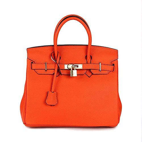 KYOKIM Neue Lychee Adern Superweiche Stoff Echt Leder Damen Tasche Reise Handtasche Umhängetasche Mit Mehreren Fächern,Orange-L (Stoff-handtaschen Orange)