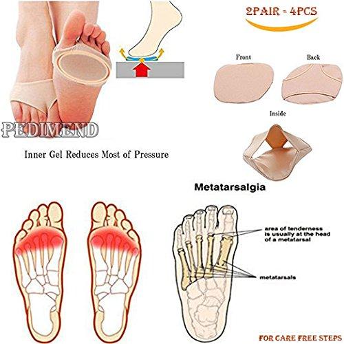 pedimend Vorfuß Unterstützung Stoff Ball der Foot Gel Pads Kissen–rutschfeste Off Metatarsal–Mittelfuß Wunde Harte Haut lindern Vorfuß Schmerzen–bietet von Hühneraugen/Eingewachsene Nägel/Schwielen/Hammer Zehen/Blasen/Plantarfasziitis/metatarsale Schmerzen–Metatarsal Harte Haut Morton-Neuralgie–Unisex–Foot Care - Diabetische Schuhe