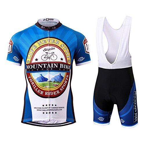Thriller Rider Sports® Herren Mountain Bike Club Sport & Freizeit MTB Fahrradbekleidung Radtrikot und Trägerhose Anzüge 5X-Large