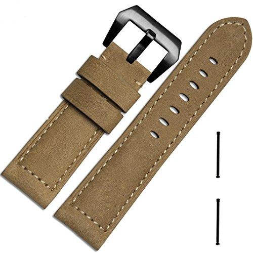 Garmin wtach strap Clode® 26mm Echtleder Bügel Ersatz-Uhrenarmband + Lugs Adapter für Garmin Fenix 3/ HR (Khaki) (Kids Ersatz-uhrenarmband)