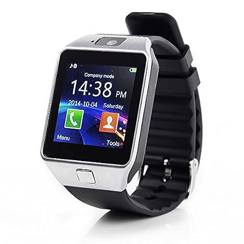 GT dz09Montre connectée Bluetooth Smart Watch Montre bracelet Bluetooth Android iOS Appareil photo SIM Sport Argent noir