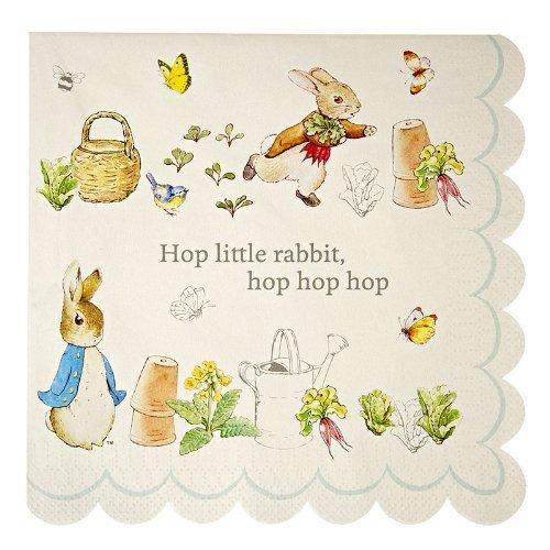 Meri Meri Lot de 20 serviettes à motif de Peter Rabbit pour fête d'anniversaire