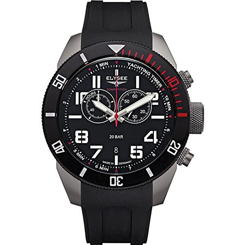 ELYSEE Men's Yachting Timer 45mm Black Silicone Band IP Steel Case Sapphire Crystal Quartz Watch 94001