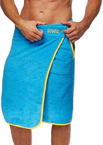 Sowel® Saunakilt Herren 100% Baumwolle, Saunahandtuch mit Klettverschluss für Männer, 140 x 60 cm, Blau Gelb