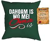Geschenk für Oma Kissen mit Füllung und Urkunde Dahoam is wo mei Oma is Polster für Oma Geburtstagsgeschenk Weihnachtsgeschenk Großmutter Omi