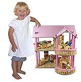 Maison de poupées 'Ronja' - Villa résidentielle - en bois - avec meubles et poupées - Dimensions 115 x 40 x 52 cm (long. x larg. x haut.)
