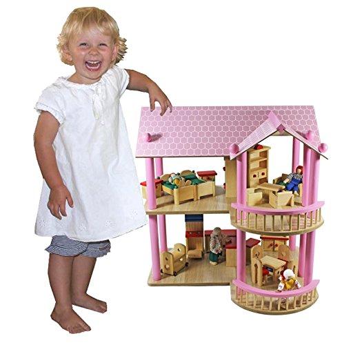 riesiges XL Puppenhaus Villa aus Holz + Möbel + Puppen 48x40x49,5cm