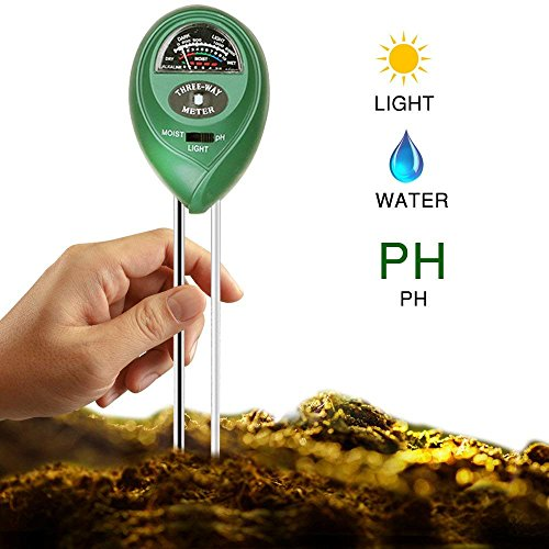 MLJTECH 3en 1testeur de Sol Mètre d'humidité, lumière et pH acidité testeur, testeur de Plante pour Jardin, Ferme, Pelouse, intérieur et extérieur
