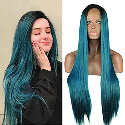 MMLC Perücke 66cm Lange gerade haare perücke blau Brasilianische Weniger Spitze Vorne Volle Perücke Bob Welle Natürlich Aussehende Frauen Perücken (A)