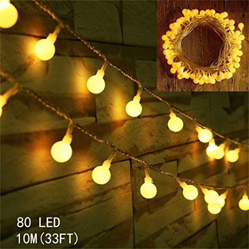 10 Meters Fairy Lights Battery Powered 80leds Globe String Light Bedroom Party Ambient ...