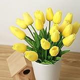kingtoys® 10PCS PU Mini Tulip Fiore Artificiale Real Touch Latex Tulipano per la cerimonia nuziale per la decorazione domestica (Giallo)