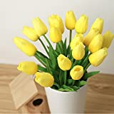 10PCS PU Mini Tulip Fiore Artificiale Real Touch Latex Tulipano per la cerimonia nuziale per la decorazione domestica (Giallo)