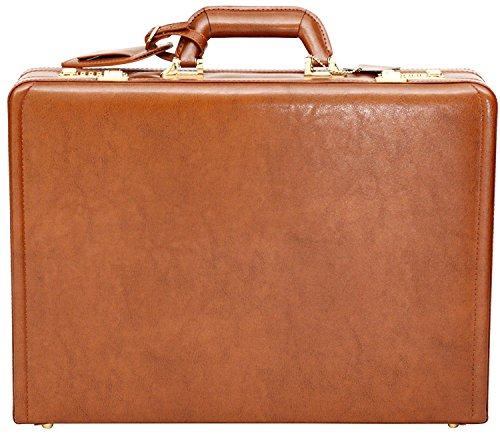 Luxury Leather Executive Case Attache Briefcase Expandable Hard Business Bag
