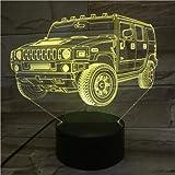 Colore del sensore tattile base luminoso fuoristrada Jeep 3D senza telecomando per luce notturna a LED regalo di Natale