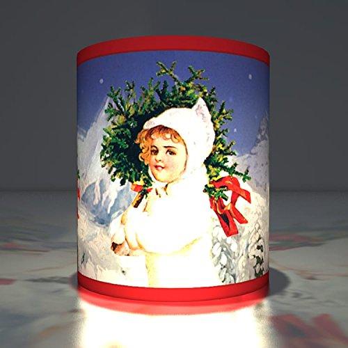 (Kartenkaufrausch 5 Winterliche Weihnachts Teelichthalter - Advents Tranparentlichter als Weihnachtsdeko mit Schnee Motiv, stimmungsvolle Transparentleuchten)