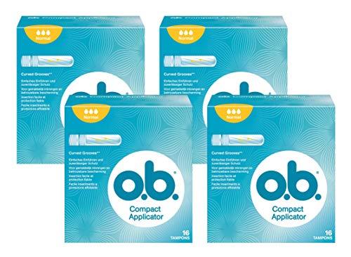 o.b. Compact Applicator Normal Tampons mit geschwungenen Rillen und Einführhilfe – Zuverlässiger Schutz gegen Auslaufen bei normalen Blutungen – 4x 16er Pack