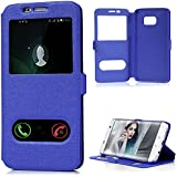 "Coque S7 Edge 5,5"", Badalink Housse Étui Case de Protection en PU Cuir Flip Cover Bookstyle Support Ultra Mince Léger Ouverture la Fenêtre Vue Window View Fermeture Aimantée pour Samsung Galaxy S7 Edge Coque - Bleu Foncé"