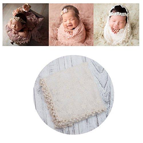 Neugeborenen Babyfotografie Props Kostüm Jungen Mädchen Baby Fotografieren Fotoshooting Set Spitze Wickeln Decke (Beige)
