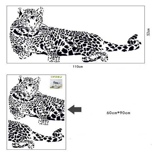 Poowef Schwarzer Pvc-Wand Aufkleber Cheetah Leopard 3D Herausnehmbare Wand Aufkleber Home Decor Sticker Style: Feste Material: Plastik Theme: Tier Größe: 110 Cm * 52 Cm Funktion: 3D-Sticker (Cheetah 110)