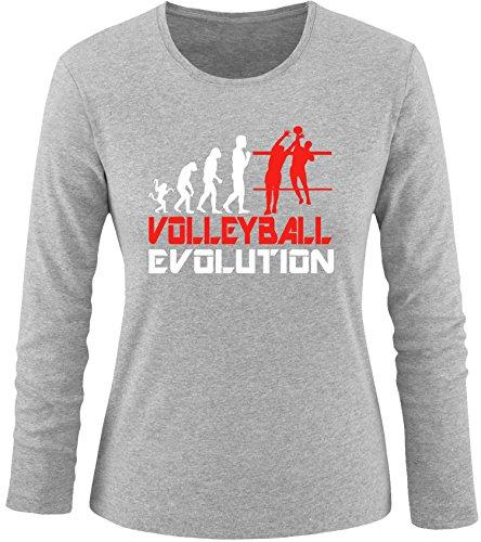 EZYshirt® Volleyball Evolution Damen Longsleeve Grau/Weiss/Rot