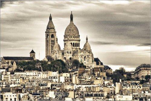 Posterlounge Tableau en Verre Acrylique 30 x 20 cm: Architecture and Landmarks of Paris de Editors Choice