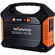 Webetop Portatile Potenza Generatore Inverter Batteria 42000mah 100w Emergenza CPAP Mini Elicottero il Campeggio Potenza Approvvigionamento Accusato Da Pannello Solare /Muro Sbocco /Auto con 230v AC Outlet, 3 12v DC, 3 USB Porto