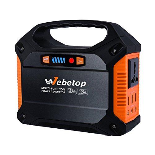 Webetop 42000mAh 100W Tragbarer Stromerzeuger Stromgenerator Solar Generator für Notfall| AC DC Steckdose, KFZ Adapter, 3 USB Ports & Zigarettenanzünder- Buchse