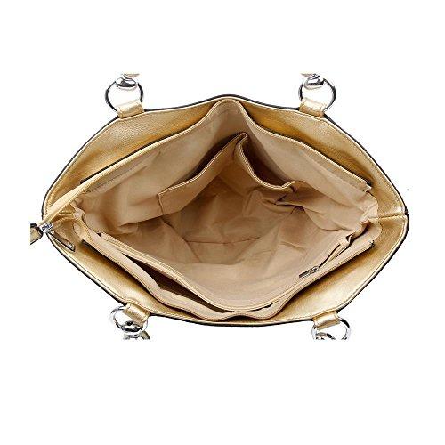 OBC DAMEN HANDTASCHE SHOPPER FLECHTOPTIK Metallic Sommertasche Strandtasche Schultertasche Henkeltasche (Blau-Silber.) Schwarz-Gold