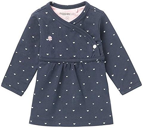 Noppies Baby-Mädchen Kleid G Dress Ls Nevada-67364, Blau (Navy C166), 74