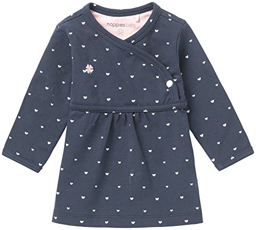 Noppies Baby-Mädchen Kleid G Dress ls Nevada-67364, Blau (Navy C166), 74
