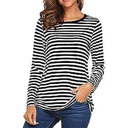 STRIR Camiseta para Mujer,Mujeres Originales Manga Larga Cuello Redondo Camiseta Básica Rayas Blusa Túnica Tops (L, Negro)