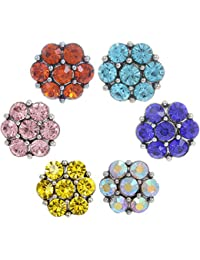 Morella Juego de adornos con botón de presión, purpurina, 6botones, 6colores