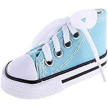 MagiDeal 1 Par Encaje Hasta Zapatos de Lona Superior Alta para 1/4 BJD Muñecas Accesorio - Azul Claro