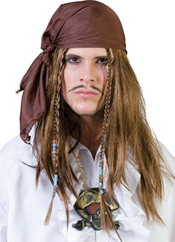 ,Karneval Klamotten' Kostüm Perücke Pirat mit Tuch Zubehör Karneval Piratenperücke (Piraten Bart Kostüm)