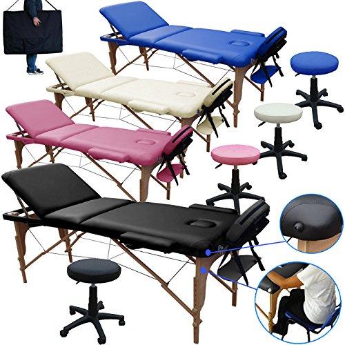 Lettino massaggio 3 zone in legno dimensione 195/225 x 70 cm + sgabello regolabile in altezza + borsa per lettini da massaggi portatile - pannello reiki - angoli arrotondati e rinforzati - nero