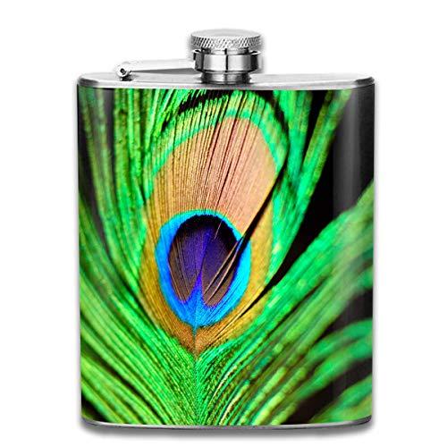 Sdltkhy Peacock Feather Pocket Hip Flask - 7oz Pocket Flask (Billig Peacock Feathers)
