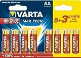 Varta Max Tech LR6, Alkaline-Batterien, AA, 8 Stück